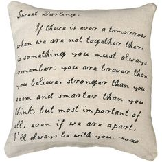 """""""Sweet Darling"""" Love Letter Script Linen Down Throw Pillow ($120) ❤ liked on Polyvore featuring home, home decor, throw pillows, pillows, fillers, other, folk art, linen throw pillows и animal throw pillows"""