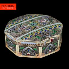 Pushkin Antiques - ANTIQUE 20thC RUSSIAN 11 ARTEL SOLID SILVER & ENAMEL SNUFF BOX c.1910-01.jpg
