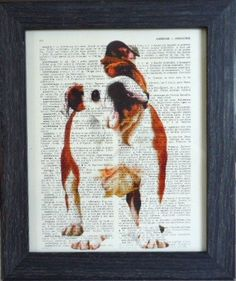 English bulldog print on an vintage french dictionary page, dictionary print for your wall. $8.95, via Etsy.