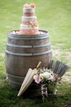 wine barrel as cake table