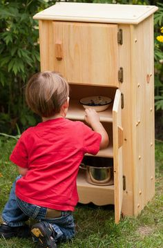 Natural Wooden Toy Play Kitchen Jacob's Icebox-Refrigerator by Elves and Angels