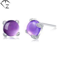 GZ 925 Silver Earrings Round Purple Crystal Cubic Women 100% S925 Sterling Silver boucle d'oreille Stud Earring Jewelry #Affiliate