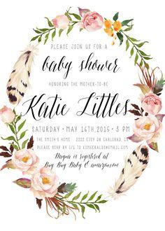 Girl Baby Shower Invitation Boho Feather Flower by kreynadesigns.etsy.com