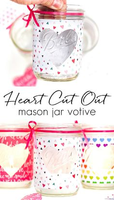 Easy Heart Cut Out Mason Jar Votive - Mason Jar Crafts Love