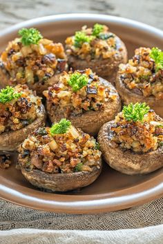 Bacon, Caramelized Onion & Blue Cheese Stuffed Mushrooms Recipe with Onion, Garlic, and Cream Cheese