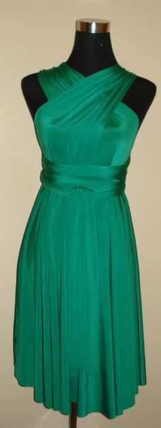 Emerald green knee length infinity dress by stitchawayrose on Etsy