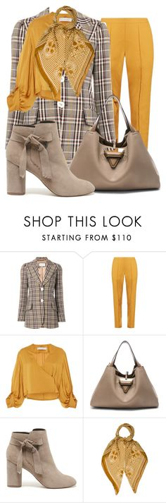 """""""Plaid blazer"""" by subvilli on Polyvore featuring Gucci, Rosie Assoulin, Christine Alcalay, Loewe, Sole Society, Alexander McQueen, plaid, polyvoreeditorial, polyvorefashion and autumn2017"""