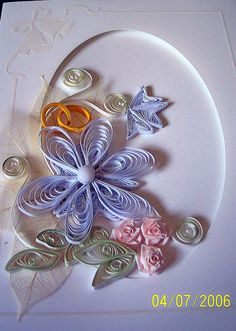 so pretty...   Wedding Card - by: Janet McAlister - Yorkshire Lass - pinterest.com/yorkshiresbest/my-quilling/