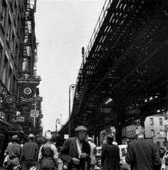 Bernice Abbott, Under the El at the Bowery, New York, c. 1950