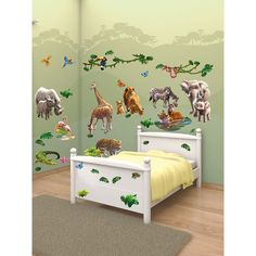 If you're looking for a simple way to transform a room, adding interest and excitement for your children, this room Jungle Adventure décor kit provides a straightforward, practical and cost-effective solution. The kit contains 54 easy to apply wall stickers!: