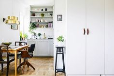 Leather handle upgrade \ This Swedish Apartment Is a Lesson in Small-Space Styling | MyDomaine