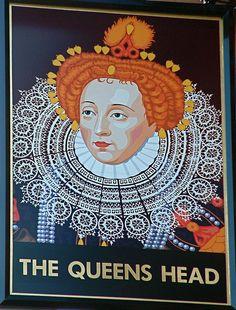 The Queens Head pub sign, Chesham, Buckinghamshire, England