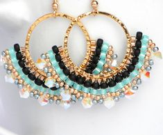 Beaded swarovski Long hoop earrings Black Turquoise by LiBeadi Brick Stitch Earrings, Seed Bead Earrings, Beaded Earrings, Earrings Handmade, Beaded Bracelets, Hoop Earrings, Bead Jewellery, Diy Jewelry, Beaded Jewelry