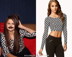 We don't know why Selena Gomez looks so confused or has a faux mustache, but we know she's wearing a Forever 21 Checkerboard Crop Top! This top is sold out on the US and Canada store, but all of you. Selena Gomez T Shirt, Selena Gomez Closet, Selena Gomez Style, Award Show Dresses, Spanish Girls, Latest Outfits, Her Style, Celebrity Style, Crop Tops