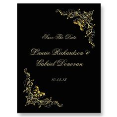 Black and Gold Ornate Jeweled Save The Date Postcards