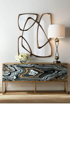 Summer style!! White, black and gold modern contemporary buffet console with gorgeous geode styling and brass legs and edging. Look how the modern brass mirror and lamp tie into the whole vignette - wonderful!! Imagine this beauty in a foyer, front hallway, bedroom, living room or dining room!
