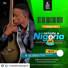 #Repost @mrandmissnigintl with @repostapp  It's the fifth edition Mr. and Miss Nigeria International 2016 the Beauty and Brain Edition It's the restoration of  Poise and Class...Meet the performing acts as they restore the stage with their melodious tunes.  MR. AND MISS NIGERIA INTERNATIONAL 2016 FEATURING THE FOLLOWING PERFORMING ARTISTES (CONFIRMED)  The legendary Elajoe Nwosu Eedris Abdulkareem (The Olympic Torch Bearer) Gt da Guitarman Rocknana Akay Imoh Deekay Sinopizzi John Networq…