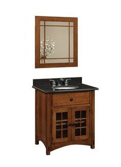Amish Norfolk Two-Piece Bathroom Vanity Set Perfect set for a guest bathroom or small bathroom. Luxurious Amish made furniture customized in choice of solid wood, stain and hardware. #Amishfurniture #bathroomvanity