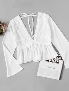 Shop Plunging V-neckline Lace Trim Self Tie Frill Top online. SheIn offers Plunging V-neckline Lace Trim Self Tie Frill Top & more to fit your fashionable needs. Trendy Outfits, Fashion Outfits, Fashion Blouses, Fashion Styles, Fashion Fashion, Fashion Ideas, Vintage Fashion, Frill Blouse, Lace Peplum