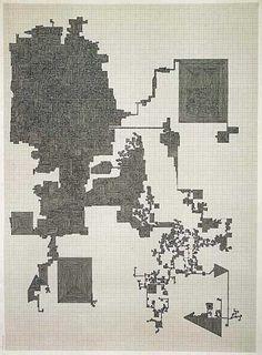 Ink on millimeter graph-paper 29.7x42cm A single line drawn through individual milimetre squares