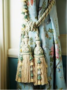 Tassels on the window treatments at Laduree SoHo. Today, dear readers, we'd like to share with you images of the French brand Laduree's beautiful interiors. Custom Drapes, Custom Windows, Velvet Curtains, Drapes Curtains, Drapery, Luxury Curtains, Window Drapes, Valances, Window Coverings