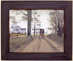 Trendy Decor Ready to Hang Framed Print White Frame 19 In. x 15 In. Headin Home by Billy Jacobs at Lowe's. Headin' Home by Billy Jacobs is Amish theme framed art in a decorative x white frame. This art features an Amish buggy heading home Primitive Folk Art, Country Primitive, Amish Country, Primitive Decor, Country Farmhouse, Framed Wall Art, Framed Art Prints, Wall Décor, Wall Hooks