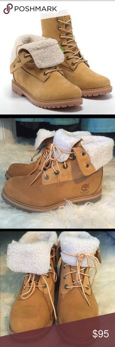Timberland Fold Over Fleece Boots Wheat 6.5 Authentic retail Timberland    Retail: $149  Style: fold down wheat Nubuck boots    Size: women's 6.5 true to size (I typically wear a 6.5-7)  Condition: like new can ship with original box at request only. I think I only wore maybe once Timberland Shoes Ankle Boots & Booties