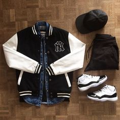 I'd wear the jacket w/o the logo, the shirt and cap, and pants.  id replace the Jordans with some adidas and call it good.