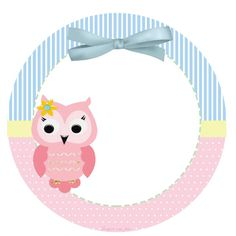 Tags or cupcake topper for sweetie and Corujinha Rosa