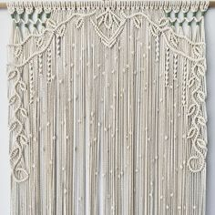 Now that her new owner has seen her, I can show her off! This is my first Macrame door curtain, and first time trying the Macrame Design, Macrame Art, Macrame Projects, Macrame Knots, Macrame Wall Hanging Patterns, Large Macrame Wall Hanging, Macrame Patterns, Floral Patterns, Rideaux Design