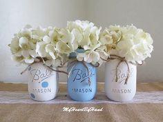 Rustic Home Decor Blue Polka Dot Mason Jar Centerpieces Baby