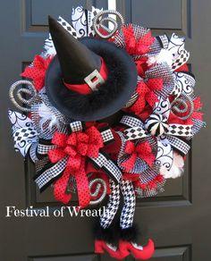 Halloween Wreath - Halloween Decoration - Halloween decor - Halloween Door Wreath - Halloween Witch Wreath - Fall Wreath by FestivalofWreaths on Etsy https://www.etsy.com/listing/400675745/halloween-wreath-halloween-decoration