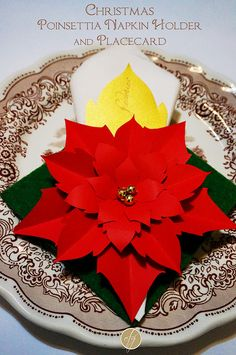 DIY poinsettia napkin holder and placecard