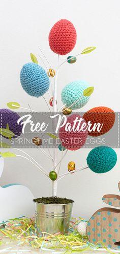 Ideas For Crochet Free Pattern Spring Easter Eggs Easter Egg Pattern, Easter Crochet Patterns, Crochet Edging Patterns, Crochet Crafts, Crochet Projects, Crochet Ideas, Bunny Crochet, Crochet Flowers, Free Crochet
