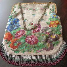 Antique Micro Beaded Purse Floral Bouquet XL Beauty