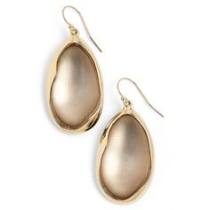 Alexis Bittar'Lucite - Liquid Metal' Oval Drop Earrings ($155) ❤ liked on Polyvore featuring jewelry, earrings, grey, metal jewelry, lucite earrings, alexis bittar, acrylic jewelry and grey earrings