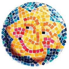 fun summer craft - mosaics on the back of a paper plate using magazine pages
