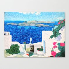 """Santorini 17""""x13"""" Stretched Canvas by Lindsay Carter - $85.00"""