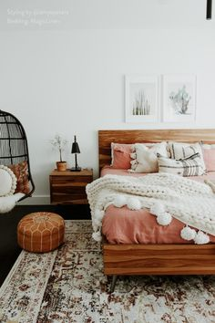 Create the coziest boho bedroom with cushions, blankets, and linen sheets available in various sizes. Styled by @amyepeters featuring Rust Pink linen sheets by MagicLinen. Fall Bedroom Decor, Bedroom Inspo, Home Decor, Bedroom Ideas, Apartment Chic, Studio Apartment, Girl Bedroom Designs, Boho Room, Bedroom Layouts