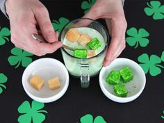 Make green and gold marshmallows for St. Patrick's Day >> http://www.diynetwork.com/how-to/make-and-decorate/crafts/diy-st-patricks-day-marshmallows?soc=pinterest