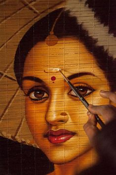 Indian Paintings On Canvas, Indian Women Painting, Great Paintings, Beautiful Paintings, 3d Wall Painting, Woman Painting, Doodle Art Designs, Cultural Capital, Hindu Art