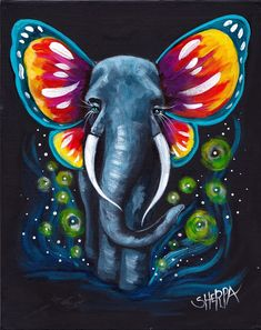 Magical fantasy Elephant with Butterfly ears a Beginners learn to paint full acrylic art lesson. Magical fantasy Elephant with Butterfly ears a Beginners learn to paint full acrylic art lesson. Cute Canvas Paintings, Small Canvas Art, Easy Paintings, Indian Paintings, Magical Paintings, Kids Canvas Art, Fantasy Paintings, Colorful Paintings, Fantasy Artwork