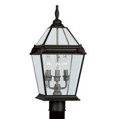 Livex Lighting Fleur De Lis 3 Light Outdoor Post Light Finish: