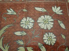 Tent Lining Fragment - 18th century - India - Cotton, silk; plain weave, embroidered, quilted