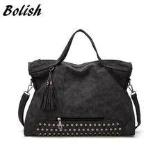 ad6aa70ef3 Bolish Fashion Autumn And Winter Soft PU Leather Women Bag Rivet Tassel Women  Shoulder Bag Larger
