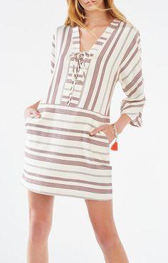 Milana Striped Lace-Up Tunic Dress
