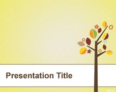 Tree with leaves PowerPoint template is a free yellow template background with tree illustration and vintage leaves