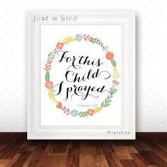 Nursery bible verse art print  For this by Justabirdprintables, $5.00