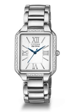 Stainless steel Ciena watch feature a square face, mineral crystal, bezel is set with 26 diamonds, roman numeral markers, and is water resistant up to 30 M.