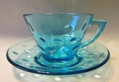 Mid Century Turquoise Azure Capri Dots Cup & by LovesVintageFinds